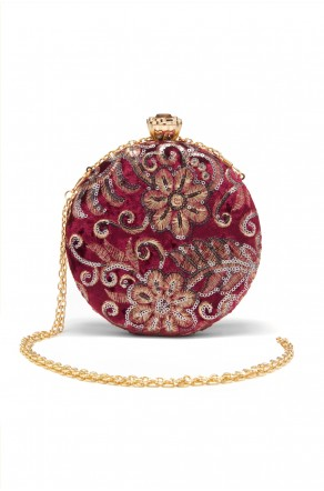 SZY-197- Embellished Circle Shape Evening Bag (Wine)