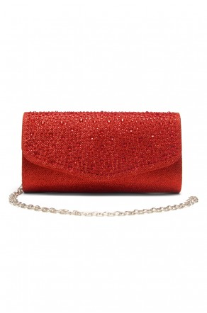 SZY-8808-Glittering Womens Flap Evening Purse (Red)