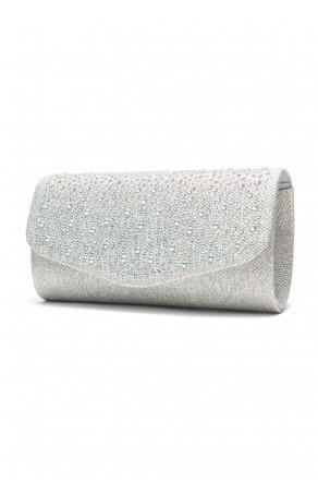 SZY-8808-Glittering Womens Flap Evening Purse (Silver)