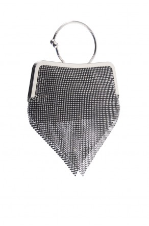 SZY-E8304-Trendy circle handle sparkled with mesh rhinestone clutch (Black)