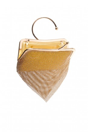 SZY-E8304-Trendy circle handle sparkled with mesh rhinestone clutch (Gold)
