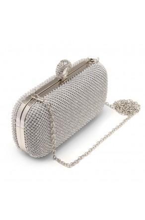 SZY-E8309- Women's Rhinestone Overlay Fully Sequined Mesh Evening Bag (Silver)