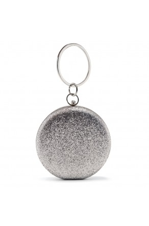 SZY-E848- Elegant Sparkly Glitter Handcarry and Stylish Ring Handle Bag (Silver)