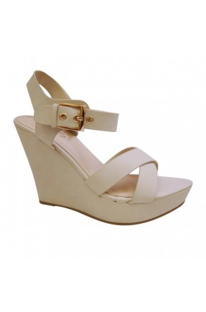 Women's Nude Manmade Szzura 4-inch Wedge Sandal with Boldly Brass Buckle
