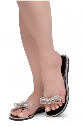 HerStyle Talluto-Rhinestone Details, Open Toe, Flat Sandals (1121Black)