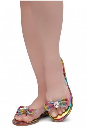 HerStyle Talluto-Rhinestone Details, Open Toe, Flat Sandals (1121Rainbow)