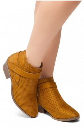 HerStyle Tamela- Low Stacked Heel Almond Toe Casual Ankle Booties (Cognac)