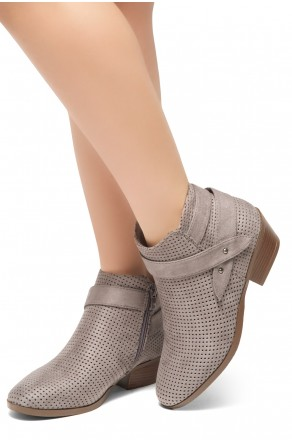 HerStyle Tamela- Low Stacked Heel Almond Toe Casual Ankle Booties (Grey)