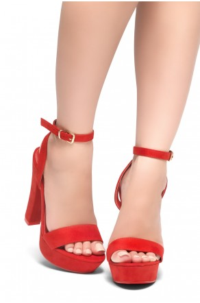 HerStyle THALIA- Ankle Strap Platform Chunky Heel (Red)