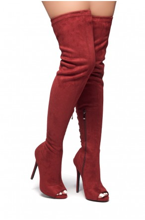 HerStyle TIMELESS MOMENTS-A peep toe, stiletto heel with tie back detail boots (Burgundy)