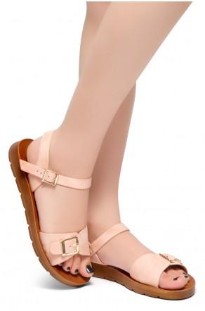 HerStyle Trinity- Ankle Strap Flat Platform Sandal (Mauve)