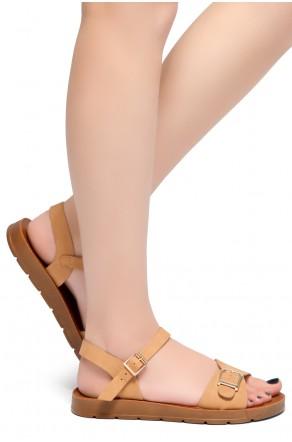 HerStyle Trinity- Ankle Strap Flat Platform Sandal (Tan)