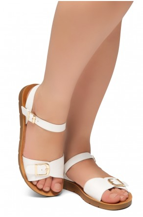 HerStyle Trinity- Ankle Strap Flat Platform Sandal (White)