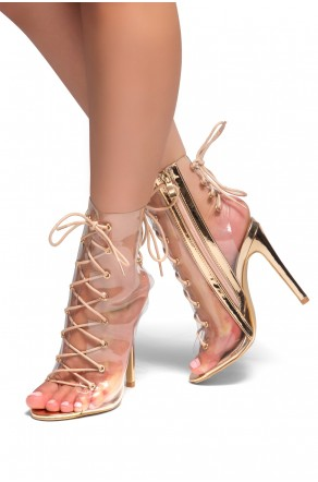 HerStyle Veronnicca Lace Up Perspex Peep Toe Stiletto Boots (Clear Rose Gold)