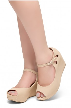HerStyle Vision Of You-Peep Toe Ankle Strap Back Closure Wedge (Beige)