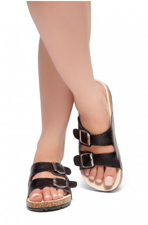 HerStyle Viviana- Double Buckled Cork Foot Bed Sandal (Black)
