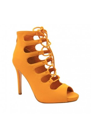 Women's Yellow Manmade Wanelle 4-inch Peep Toe Heel with Lace-up Vamp