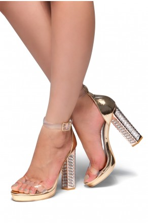 HerStyle Win Me Over-Perspex straps, Jeweled Chunky heel (Rose Gold)