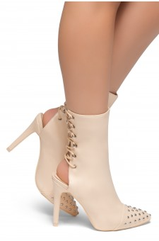 HerStyle Extra- Pointed Toe Back Lace Up Studs Detail Booties(Nude)