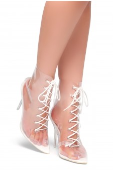HerStyle June Blue- Pointed Toe Lace Up Clear Perspex Ankle Booties (White)
