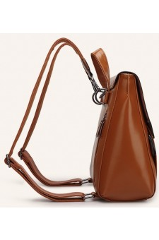 SZ9-16017- Women's Modern Style Classic Leather Backpack (Brown)