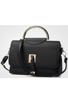 SZ7-16080- Women's Classic Leather Satchel With Modern Details Bag (Black)
