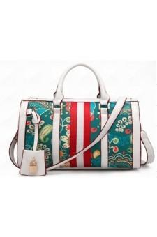 SZ11-16213- Women's Fashion Fun Patterned Print Elegant Handbag  (White)