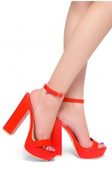 HerStyle MALIKA- Ankle Strap Platform Chunky Heel (Red)