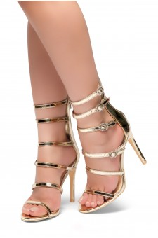 HerStyle CARERITH- Straps Detail with Jewelled Buckles Stiletto Heeled Sandals(Gold)