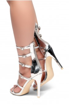 HerStyle CARERITH- Straps Detail with Jewelled Buckles Stiletto Heeled Sandals(Silver)