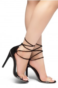 HerStyle Caveena- Suede Back Closure, Ankle-Tie lace up, Open Toe Stiletto Heel (Black)
