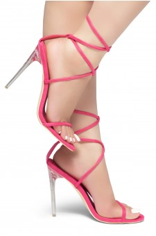 HerStyle Carmina- Suede Ankle-Tie lace up open toe, clear Stiletto Heel (Fuchsia)