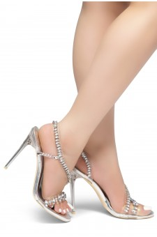 HerStyle Olisa- crystal Embellished trim across vamp, open toe, clear Stiletto Heel (Silver)