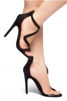 HerStyle GILLS- Curvy Vamp Strap across from Toe to Back Heel (Black)