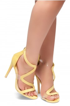 HerStyle GILLS- Curvy Vamp Strap across from Toe to Back Heel (Yellow)