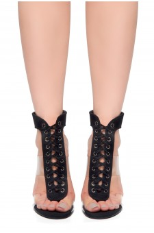 HerStyle Wing-Open Back Ankle Strap Lace Up Sandals (Black)