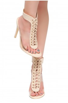 HerStyle Wing-Open Back Ankle Strap Lace Up Sandals (Nude)