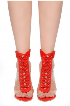 HerStyle Wing-Open Back Ankle Strap Lace Up Sandals (Red)