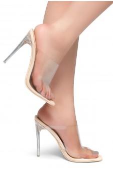 HerStyle LOVE ME - Open Toe Open Back Stiletto Heel, Perspex Vamp slipper (Nude)