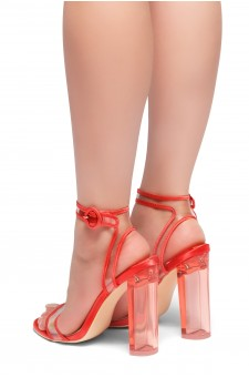 HerStyle DOEMMA - Perspex heel ankle strap with an adjustable round buckle (Red)