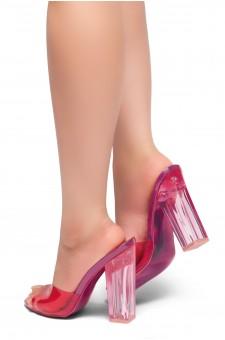 HerStyle KEDERINI - Open toe, Perspex heel, Perspex Vamp slipper (Fuchsia)
