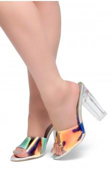 HerStyle KEDERINI - Open toe, Perspex heel, Perspex Vamp slipper (Iridescent)