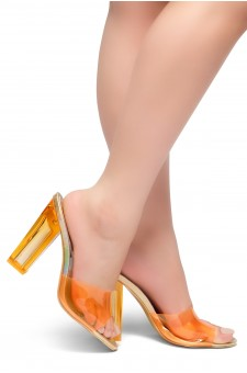 HerStyle KEDERINI - Open toe, Perspex heel, Perspex Vamp slipper (Orange)