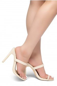 HerStyle Sasseta- Toe Ring Sandal with simple single vamp Strap, open toe, flat Stiletto Heel (Beige)