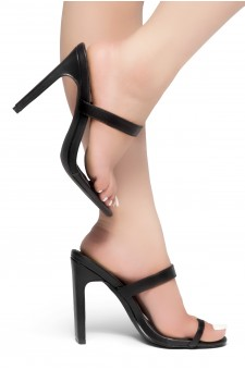 HerStyle Sasseta- Toe Ring Sandal with simple single vamp Strap, open toe, flat Stiletto Heel (Black)