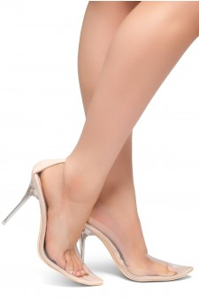HerStyle LOVE ME TRUE- Perspex Pointed Toe, Clear Stiletto Heel Pumps (Nude)