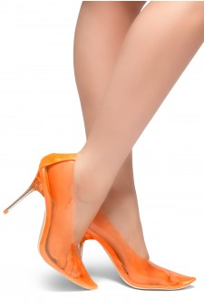 HerStyle LOVE ME TRUE- Perspex Pointed Toe, Clear Stiletto Heel Pumps (Orange)
