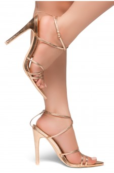 HerStyle Twist-Pointed Toe Straps Vamp Straps across Ankle Stiletto Heel Sandal (RoseGold)