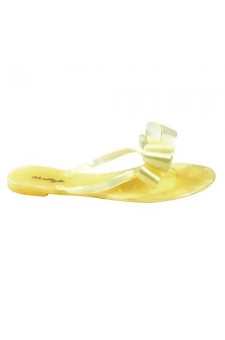 Women's Yellow Manmade Quita Flat Jelly Sandal with Ribbon-Style Bow