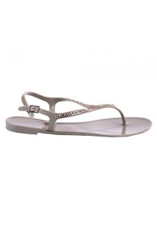 Women's Dark Beige Kitts Manmade Jelly Sandal with Glittering Sandals